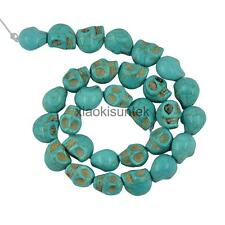Halloween Turquoise Carved Skull Jewelry Gifts Spacer Beads Blue