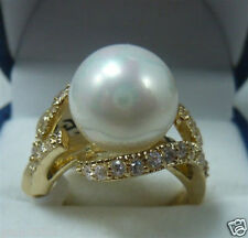 12mm Natural White South Sea Shell Pearl Gemstone Women's Ring Size 7/8/9 AAA