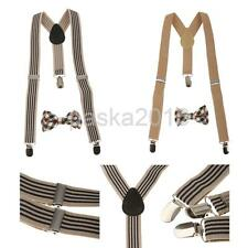 Unisex Child Kid Stretch Clip-On Brace Belt Y-back Suspender Plaid Necktie Set