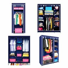 Single Double Triple Canvas Wardrobe Cupboard Hanging Clothes Rail Storage Shelf