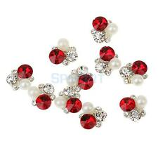 Pack Of 10 3D Nail Art Tips Decoration Glitter Rhinestone Flower Metal Jewelry