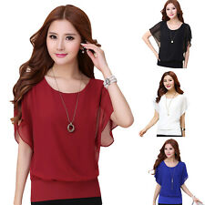 Sexy Womens Batwing Short Sleeve T-Shirt Ladies Summer Casual Loose Tops CCC New