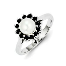 Sterling Silver FW Cultured Pearl & 0.60 CT Sapphire Ring 2.43 gr Size 6 to 8
