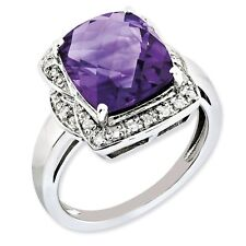 Sterling Silver Square Cut Amethyst & 0.15 CT Diamond Ring 4.37 gr Size 5 to 10