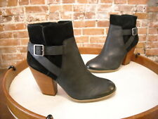 Sole Society Black Leather & Suede Hollie Strap Detail Ankle Boot NEW