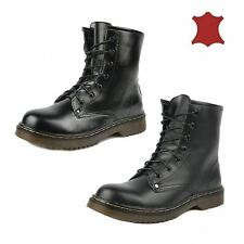 Ladies retro combat leather boots womens lace up vintage goth martin ankle boot