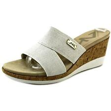 Anne Klein Sport Pleasant   Open Toe Canvas  Wedge Heel NWOB