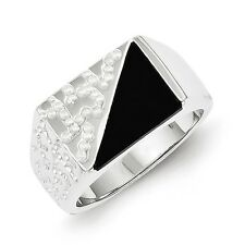 Sterling Silver Men's Triangle Design Onyx Ring 10.63 gr Size 9 to 11
