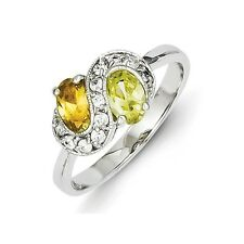 Sterling Silver Pear Shaped Lime Green Champagne & Clear CZ Ring Size 6 to 8