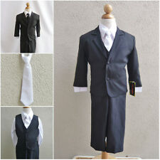 Teen toddler boy black formal suit with white long tie ring bearer prom party
