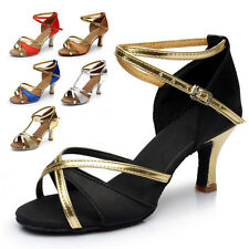 New Women Girls Gold Glitter Latin Salsa Bachata Ballroom Dance Shoes Size 5-10