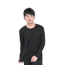 New Mens Basic Tee Long Sleeve T-Shirt Top Crew Neck Slim Fit Casual Shirts