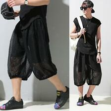 Men Mesh Fashion Sumer Pants Black Loose Drop Crotch Casual Harem Trousers Pants