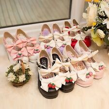 Strawberry Bowknot Bell High Heel Retro Gothic Strap Shoes Lolita Sweet Moe Girl