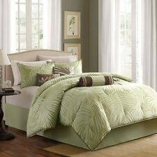 7pc Green & Ivory Palm Tree Comforter Set w/Bed Skirt Shams AND Pillows