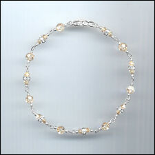 Dainty Sterling Silver Anklet with Swarovski GOLDEN SHADOW Crystals & Rondelles