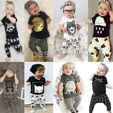 NEW Newborn Toddler Kids Baby Boys Girls Outfits Clothes T-shirt +Pants 2PCS Set
