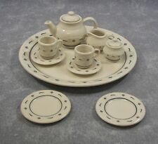 New LONGABERGER CC MINIATURE Pottery Lot TeaPot TEA SET w/ Tray And Bread Plates