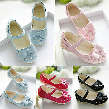 Kid Girls Bowknot Flower Party Princess Dress Up Flat Shoes Ankle Strap Sandals