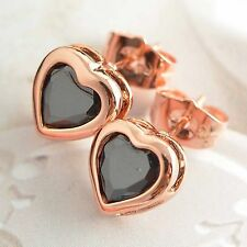 Infant Toddler baby Girls Crystal Rose Gold filled Heart safety Stud Earrings