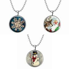 Lucky Chain Round Snowman Antler Snow Pendant Necklace Christmas Jewelry Gift