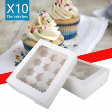 10x  White Cupcake Boxes with Inserts & Window Holds 6/12 Cup Cake Xmas Gift Box
