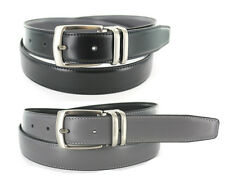 """MEN'S LEATHER DRESS REVERSIBLE BLACK/GRAY BELT SIZES: 32""""- 54"""" & BIG AND TALL"""