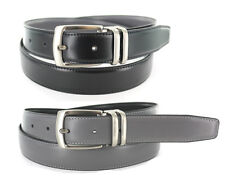 "MEN'S LEATHER DRESS REVERSIBLE BLACK/GRAY BELT SIZES: 32""- 54"" & BIG AND TALL"