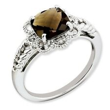 Sterling Silver Square Smoky Quartz & .05 CT Diamond Ring 3.06 gr Size 5 to 10