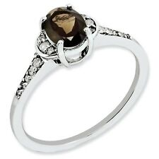 Sterling Silver Oval Smoky Quartz & .10 CT Diamond Ring 1.58 gr Size 5 to 10