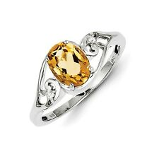 Sterling Silver Oval Cut Citrine & .02 CT White Topaz Ring 1.68 gr Size 6 to 9
