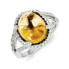 Sterling Silver Oval Cut Citrine & .05 CT Diamond Ring 4.57 gr Size 6 to 9