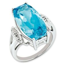Sterling Silver Marquise Light Blue Topaz & .03 CT Diamond Ring Size 5 to 10