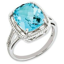 Sterling Silver Rounded Square Cut Blue Topaz Ring 2.61 gr Size 5 to 10