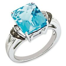 Sterling Silver Square Blue Topaz & .03 CT Diamond Ring Size 5 to 10