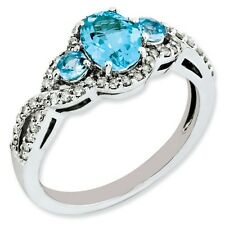Sterling Silver Oval Blue Topaz & .25 CT Diamond Ring 2.48 gr Size 5 to 10