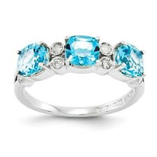 Sterling Silver 3 Stone Light Blue Topaz & .10 CT Diamond Ring Size 5 to 10