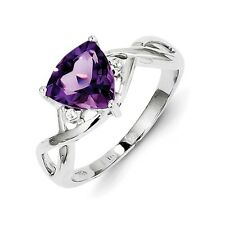 Sterling Silver Trillion Cut Amethyst & White Topaz Ring 2.66 gr Size 6 to 9