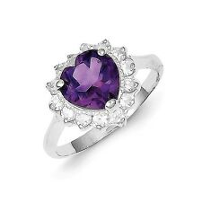 Sterling Silver Heart Shaped Amethyst & Clear CZ Ring 2.61 gr Size 6 to 8