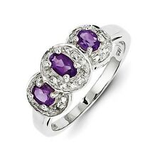 Sterling Silver Oval Three Stone Amethyst & .08 CT Diamond Ring Size 6 to 8
