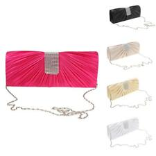 Crystal Envelope Clutch Handbag Silk Evening Party Purse Shoulder Chain Bag