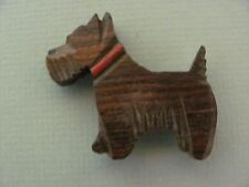 Vintage Scottie Dog Carved Wood Brooch