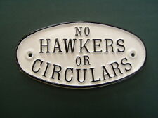 No Hawkers or Circulars warning sign for door, gate or wall in choice of colours