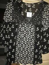 Dila Ladies size M Black top Blouse Boho $68. New with tags
