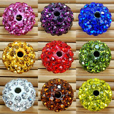 10Pcs Disco Ball Clay Pave New Round Czech Crystal Rhinestones Spacer Beads