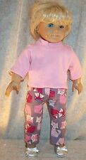 """Doll Clothes fit American Girl 18"""" inch Pajamas Sleepwear Foxes Pink  NEW 2pc"""