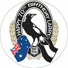 Collingwood AFL Personalised Edible Image REAL Icing Birthday Cake Topper