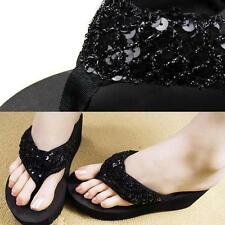 Summer Womens Girls Sequins Beach Sandals Beach High heeled Flip Flops Slippers