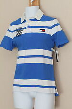 Tommy Hilfiger Trim Fit White and Blue Striped Rugby Polo Shirt New NWT