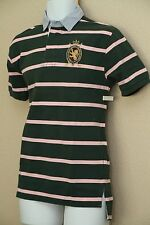 Polo Ralph Lauren Classic Fit Mens Green Pink Striped Rugby Shirt New NWT